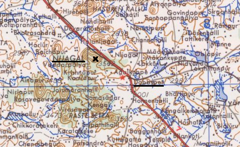 Nijagal and Dobbespet on a topographic map